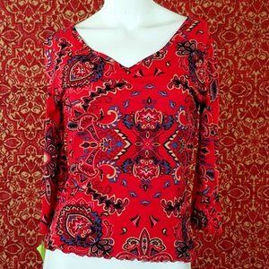 RELATIVITY Red 3/4 sleeve blouse S✨